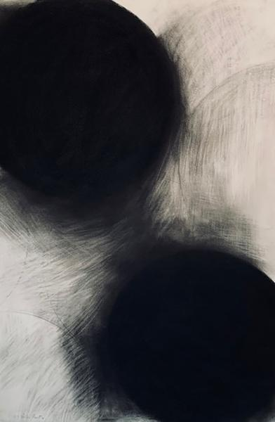 Black and white paintiBlack and white pastel drawing of large spheres metaphoric for bales of hay. on farms PEI