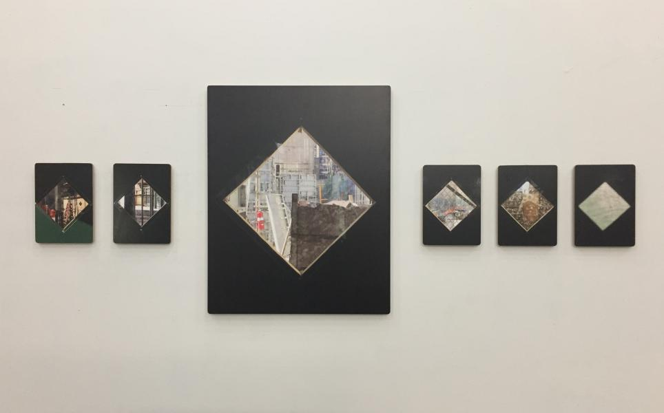 five photographs taken through the diamond shaped windows of a building site hoarding in New York City, and a sixth 'shadow' photograph, printed directly onto wood panels.  One of the six is significantly larger than the others that come before and after.