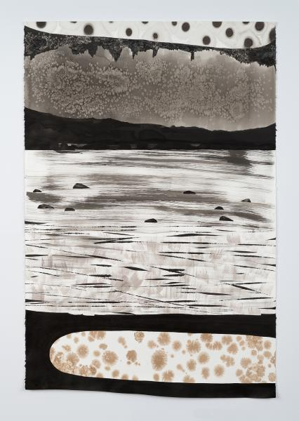 Ink on paper drawing by Magnolia Laurie of a geologic landscape.