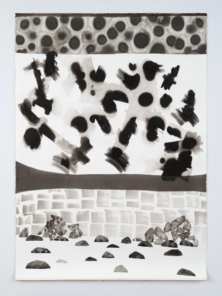 Ink on paper drawing by Magnolia Laurie of a geologic landscape and stacked stones.