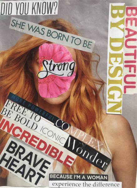 woman, roar, brave, strength, incredible, original, collage art, multi-media