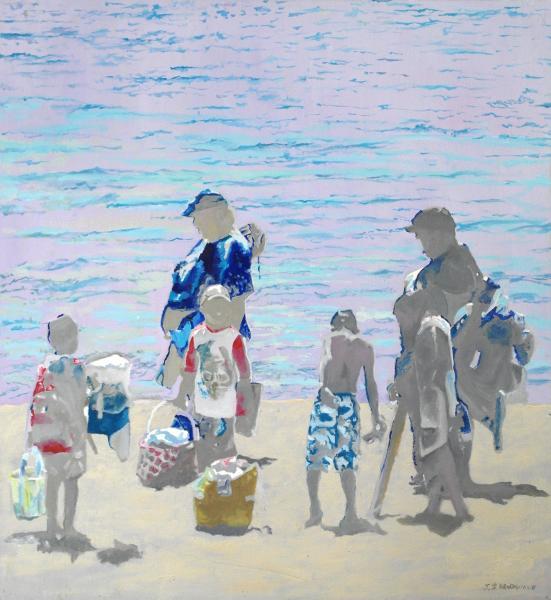 Beach scene, Santa Cruz, CA. shade, adolescent, family