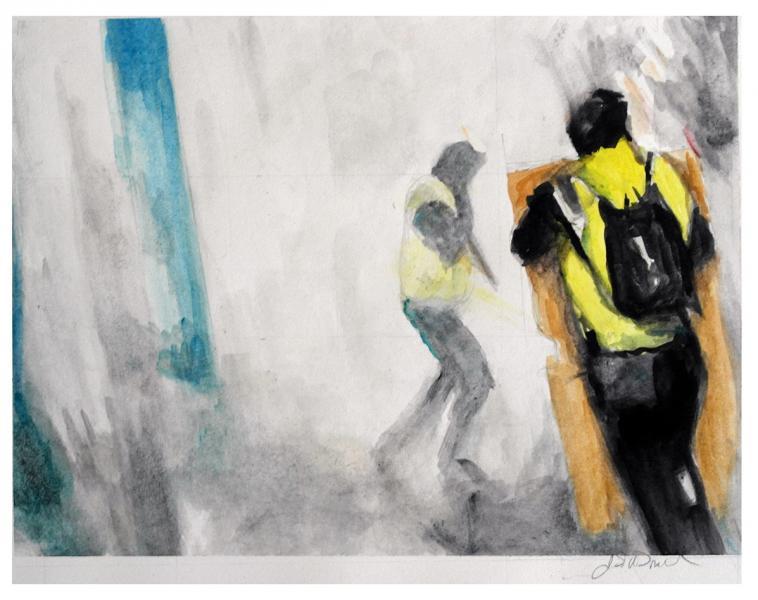 Gilets Jaunes, watercolor, social protests