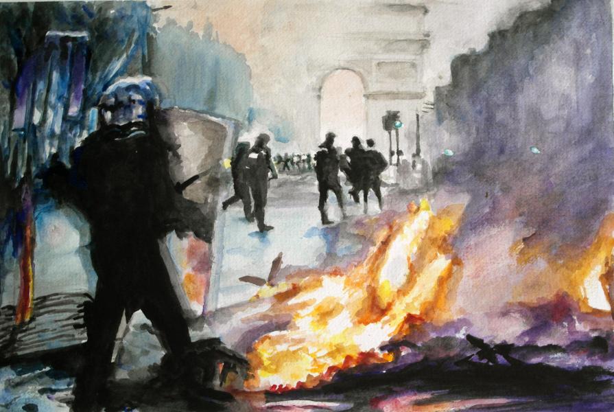 Gilets Jaunes, watercolors, social protest, Paris