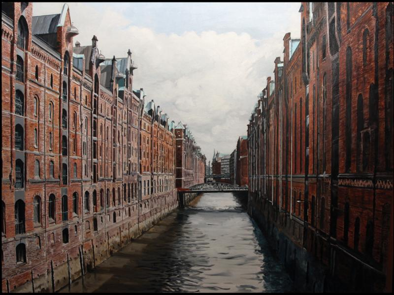 Realistic rendering, cityscape, Hamburg, Germany