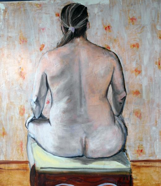 Figure painting, male nude, Leon's back