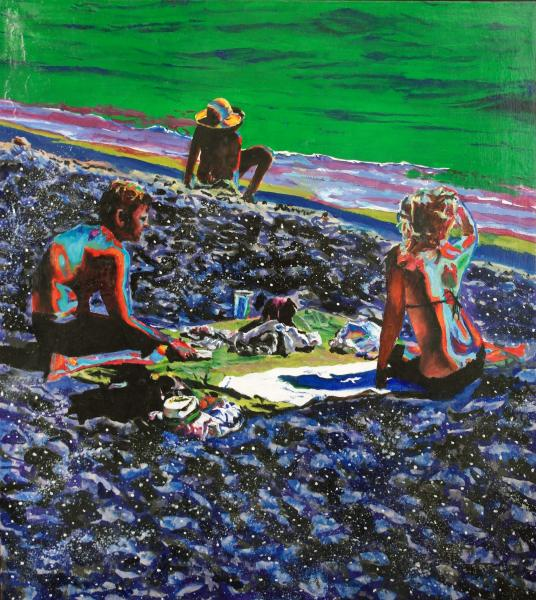 Beach scene, Santa Cruz, CA. shade, adolescent, family, psychedelic picnic