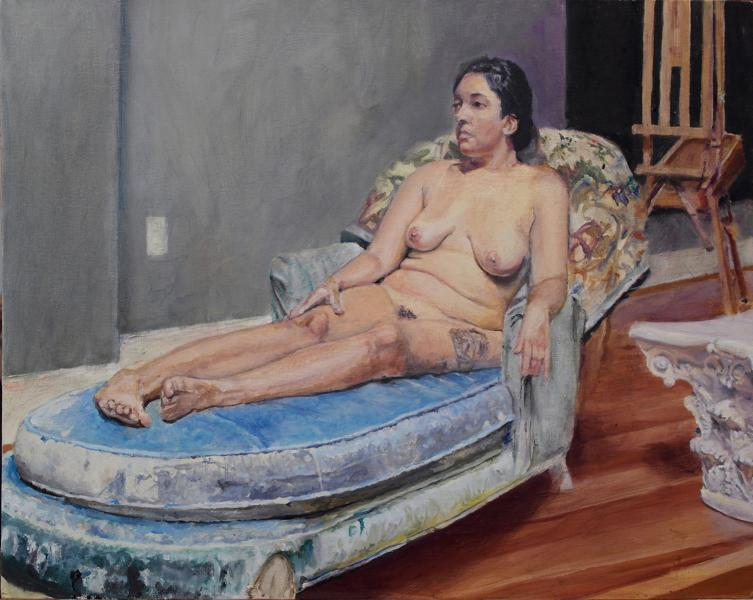 Reclining nude in a comfortable classic time freeze.
