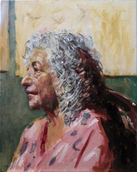 female portrait, live model, oil painting Very much in character