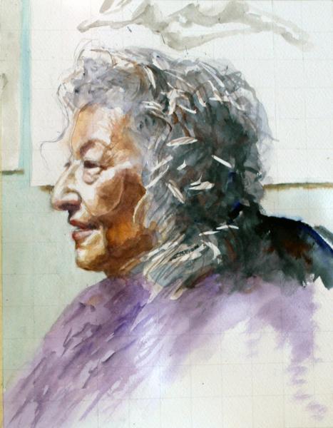 female portrait, live model, oil painting