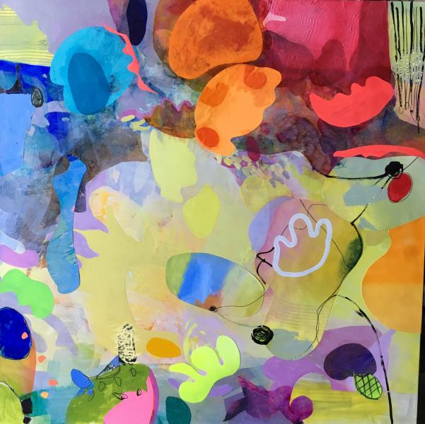 Montage, Abstract painting, Acrylic painting organic shapes