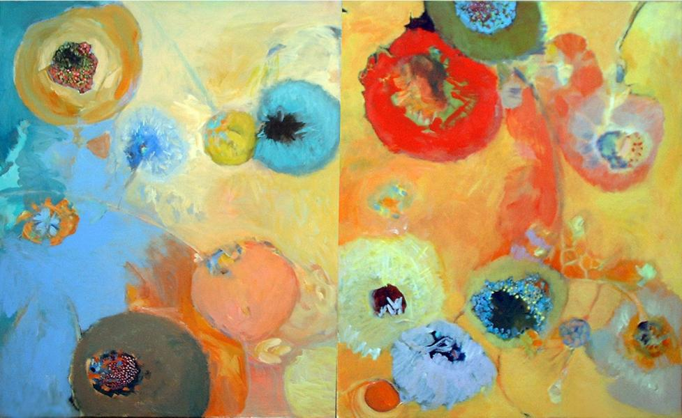 Montage, Abstract painting, Acrylic painting organic shapes, flora, floral