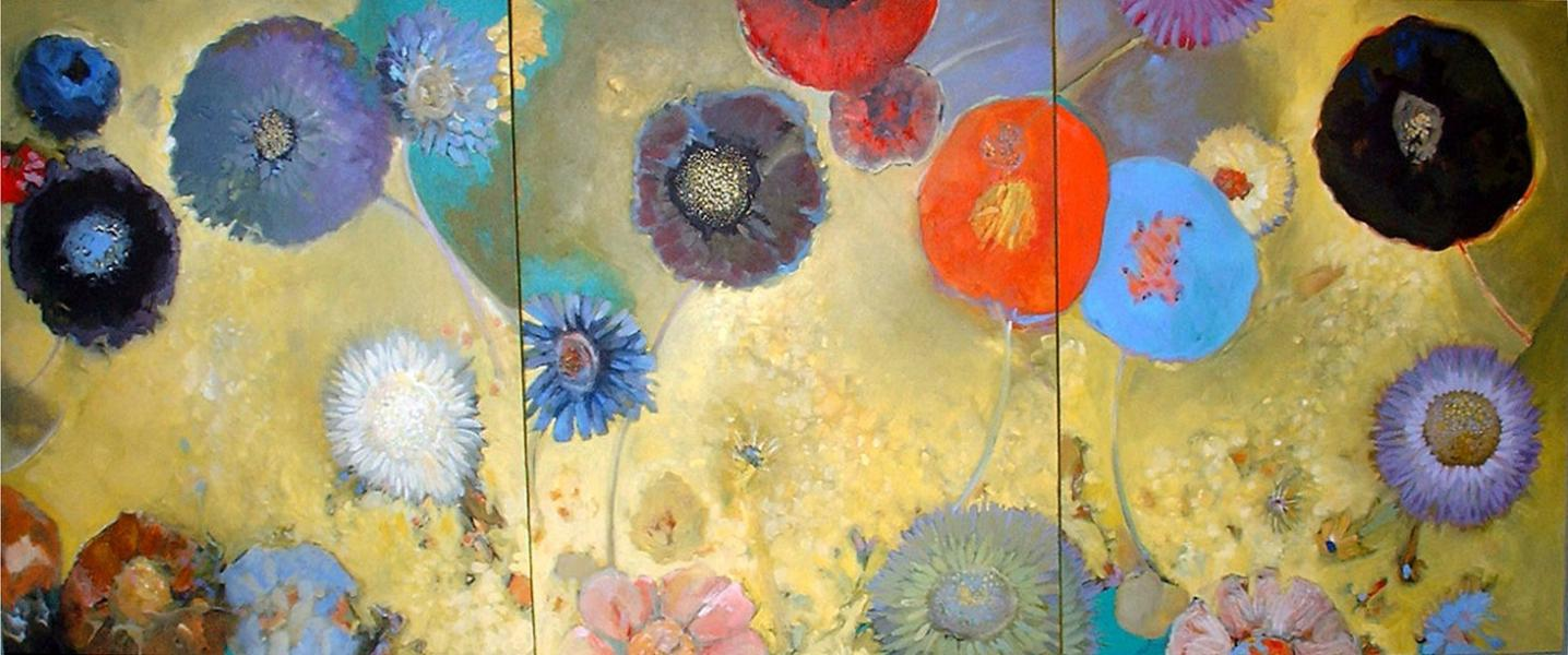 Abstract painting, Acrylic painting organic shapes, abstract floral