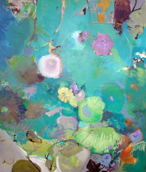 Montage, Abstract painting, Acrylic painting organic shapes, flora, pond, water