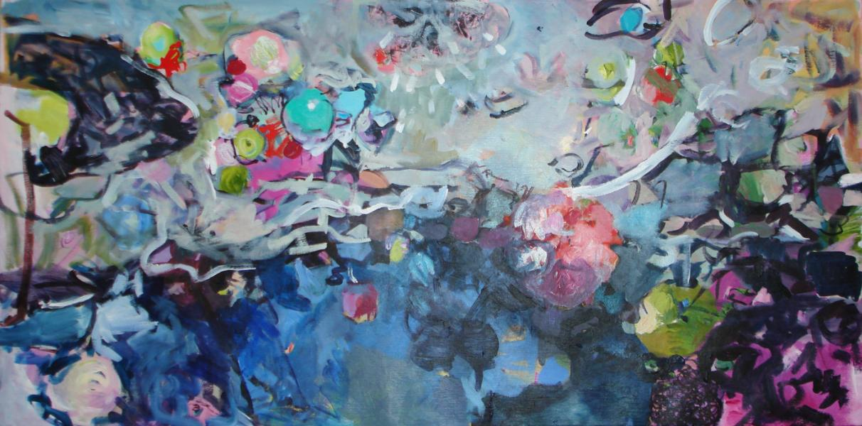 Montage, Abstract painting, Acrylic painting organic shapes, pond, water