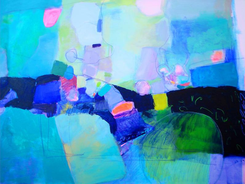 Abstract painting, Acrylic painting organic shapes, abstract landscape