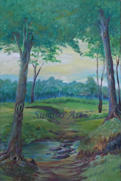 landscape, woods, trees, path, oil painting, green, water, stones