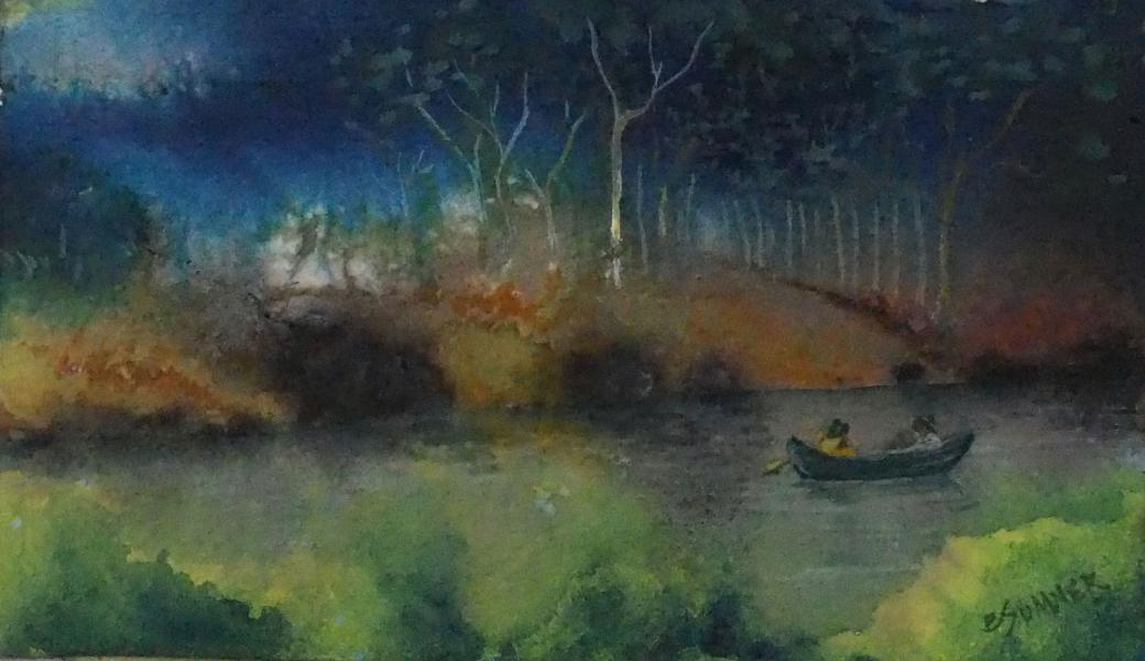 canoe, canoeing, river, boating, couple, alone, quiet, peace, water, landscape, outdoors, ink, watercolor