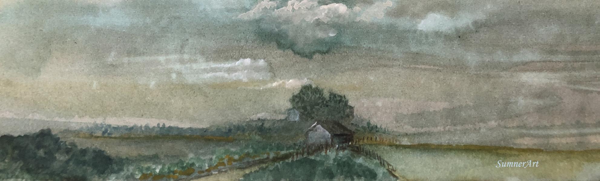 farm, open field, house, singular, clouds, contemporary landscape