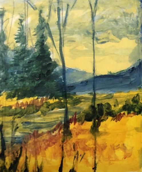 fall colors, orange, house, broken fence, hope, alone, shadow, acrylic, painting, small works, mini painting, heaven, yellow grasses, contemporary landscape