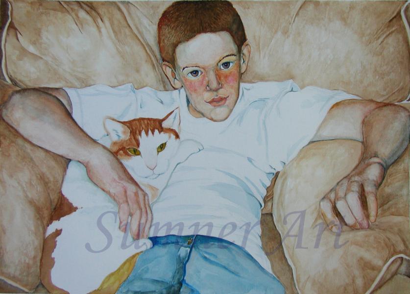 cat, boy, relationship, hug, portrait, pet painting, entwine