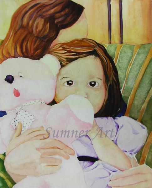 child, relationship, pink bear, teddy bear, hug, eyes, security, embrace. girl