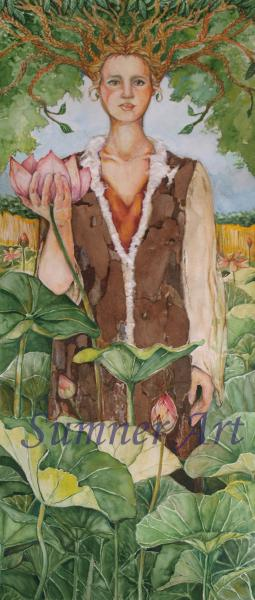 watercolor, woman, trees, mother nature, lotus, water lilies, flowers, strength, purity, enlightenment