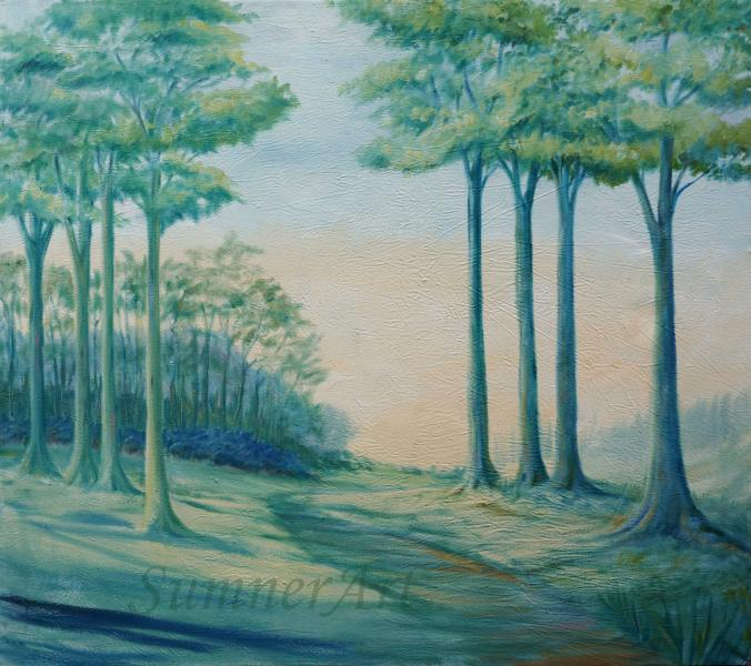 outdoors, oil, painting, blue, green, open skies, horizon, contemporary landscape, trees, path