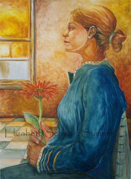 female, flower, thought, loss, gerbera daisy, orange, girl, light, window, hope