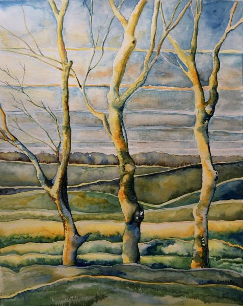 watercolor, field, trees, path, contemporary, landscape, painting, friends