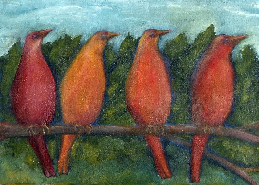 birds, outdoors, oil, painting, blue skies, community, stick together