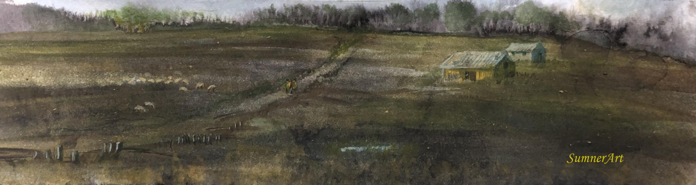 path, sheep, field, gathering, house, isolated, ink, watercolor, contemporary landscape