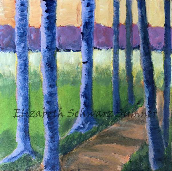path, woods, forest, trees, blue trees, acrylic, meeting,