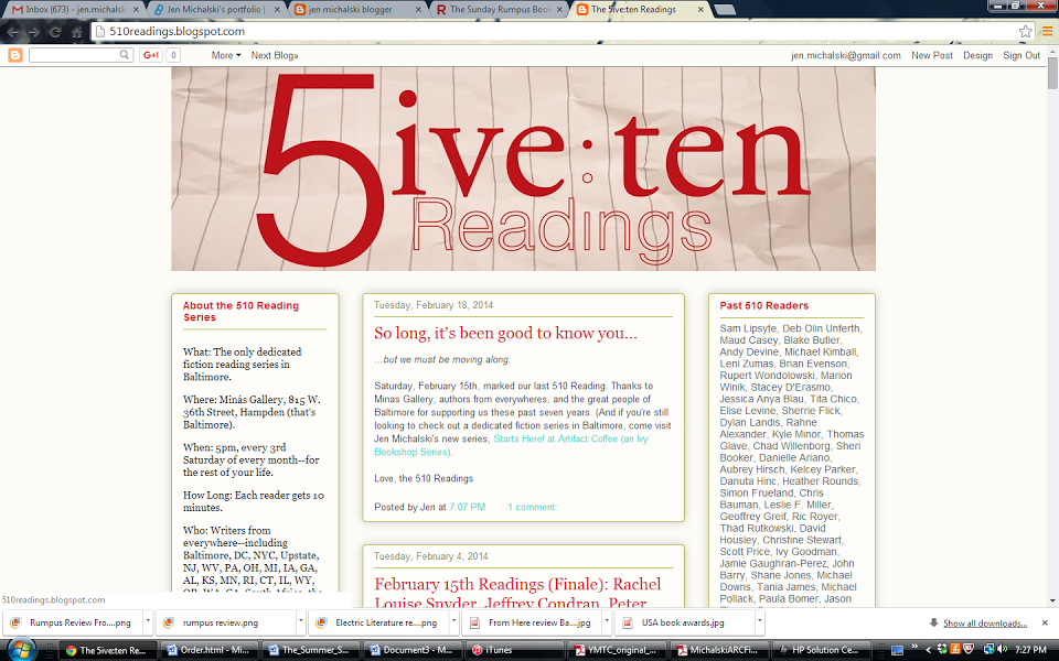 Homepage of the 510 Reading Series