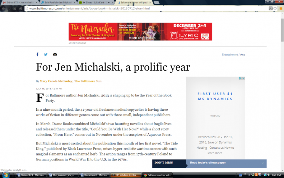 """For Jen Michalski, A Prolific Year,"" Baltimore Sun."