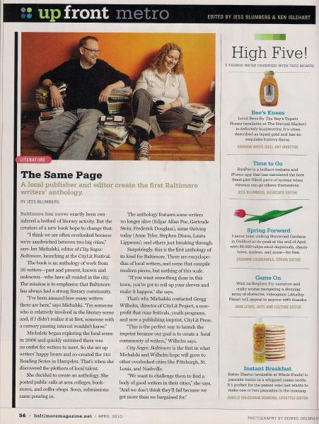 City Sages Article, Baltimore Magazine