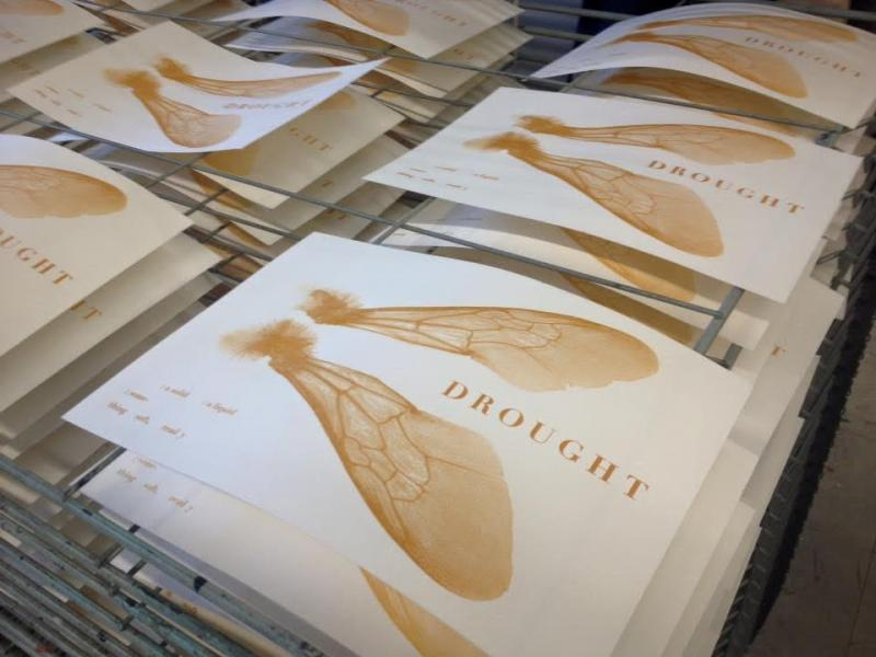 Printing covers for Drought at the Baltimore Print Studio.