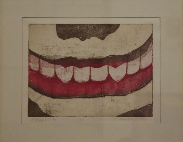 A Bigger Bite, 1986, etching on paper, 14×18