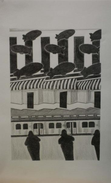 City Above and Below, 2008, graphite on paper, 15x22