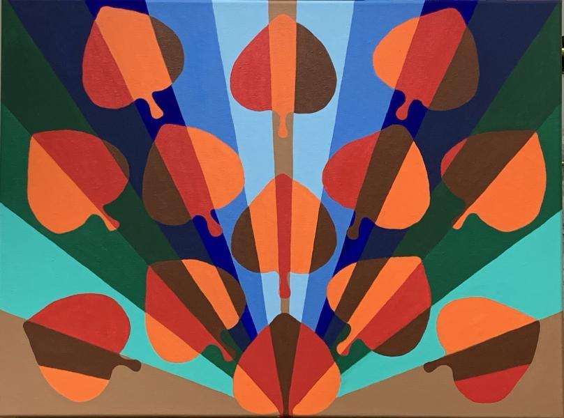 Fall Fan, 2020, acrylic on canvas, 18x24