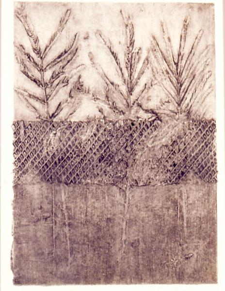 Fences, 1986, collograph, 24x18 (sold)