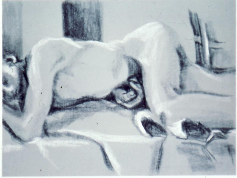 Male Figure, 1986, black and white conte on paper, 18×24 (sold)