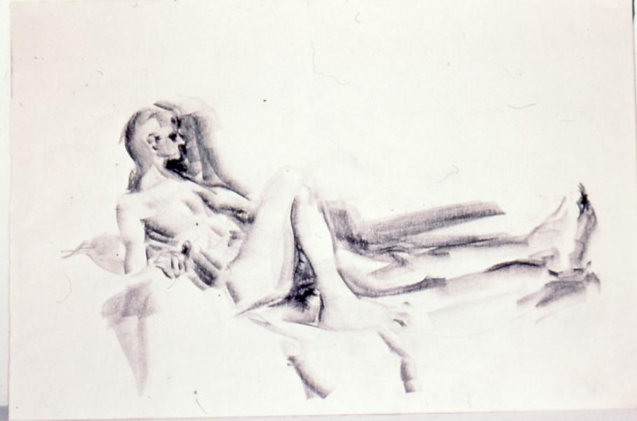 Male Figure, 1986, charcoal on paper, 18×24