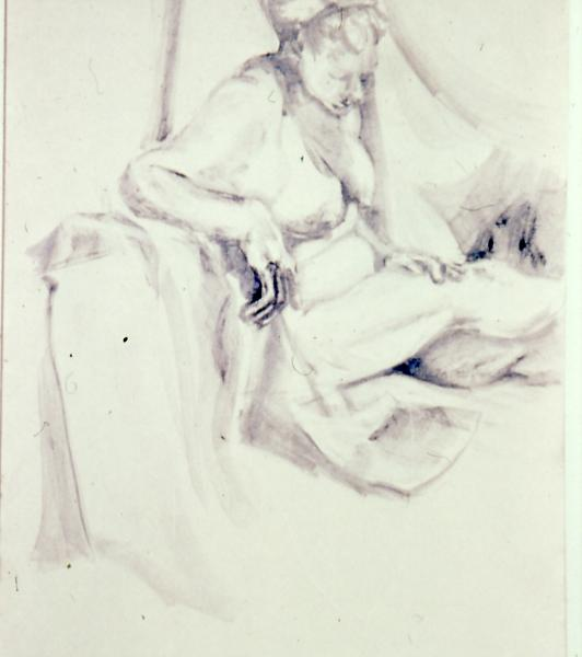 Figure Study, 1986, graphite on paper, 24×36 (sold)