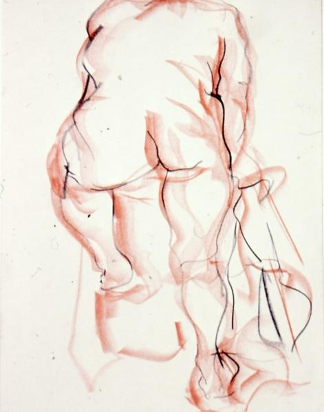Figure Study, 1986, red and black conte on paper, 24×36