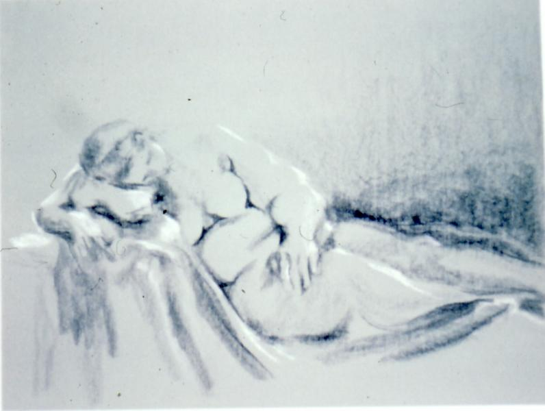 Figure Study, 1986, black and white conte on paper, 24×36 (sold)