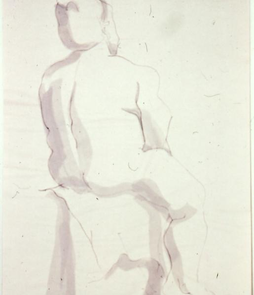 Figure Study, 1986, ink wash on paper, 24×36