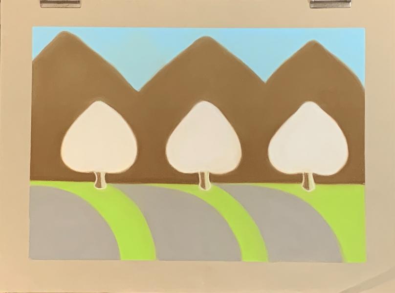 Three White Trees, 2020, pastel on paper, 18×24