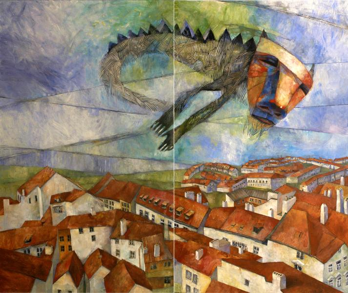 Dragon Over Prague (diptych)