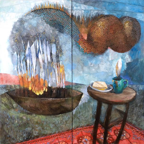 Ship On Fire (diptych)